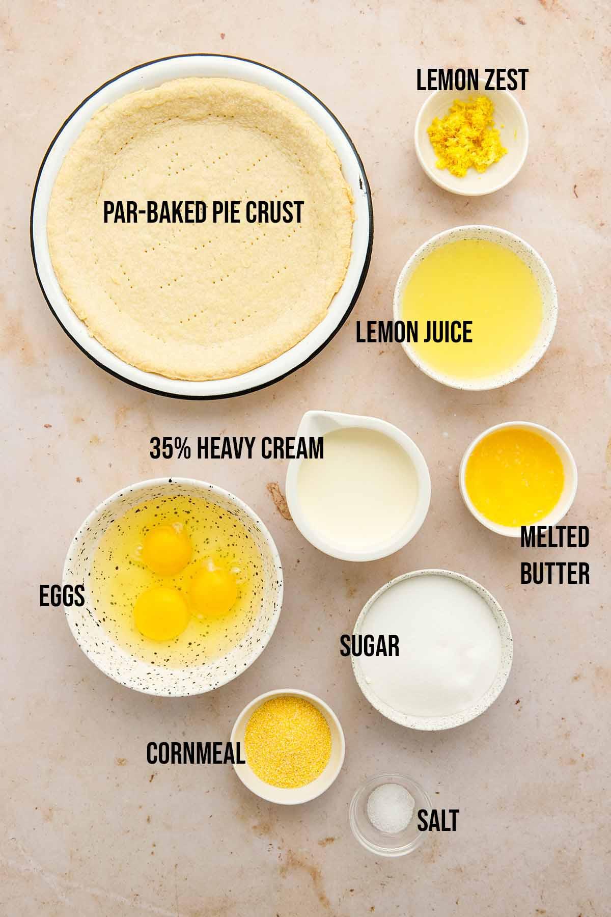 Ingredients to make lemon chess pie.