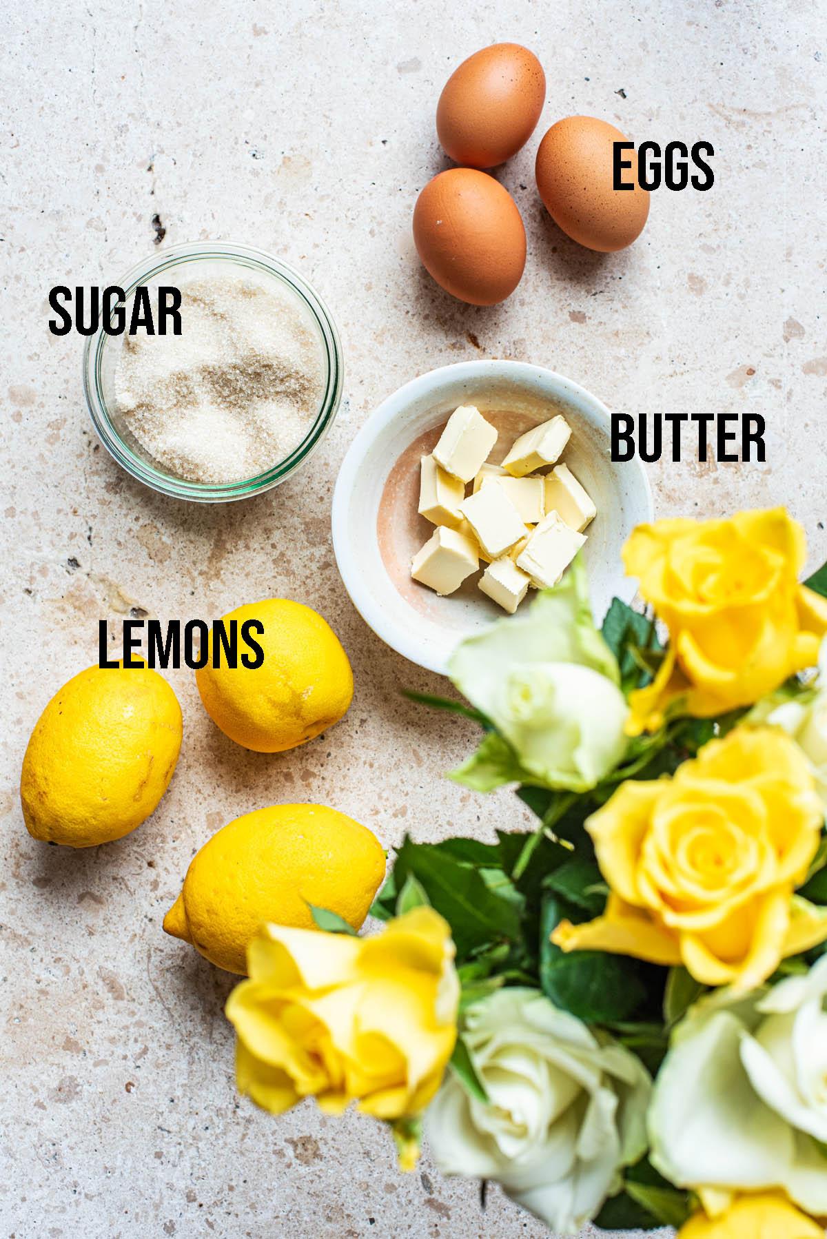 Lemon curd ingredients.