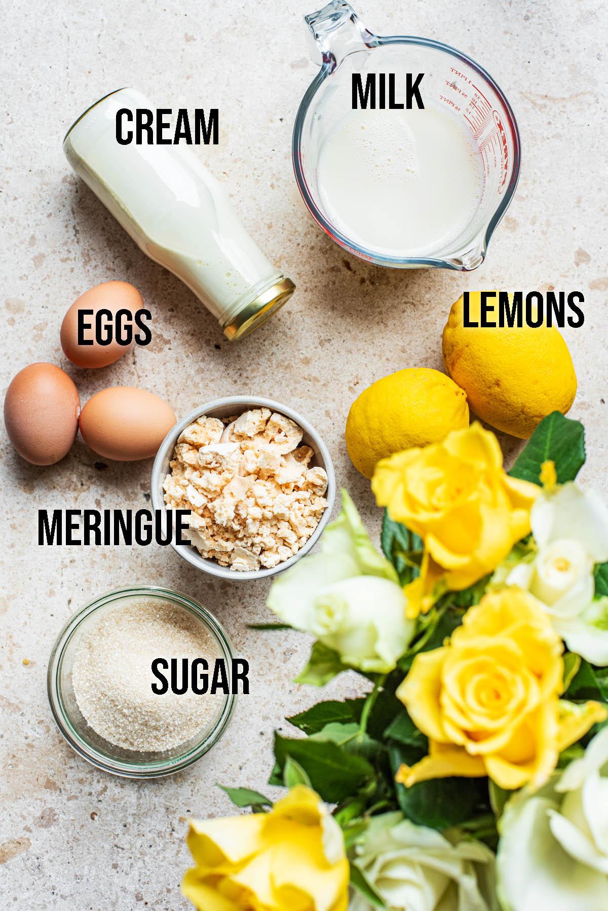 Lemon meringue ice cream ingredients.