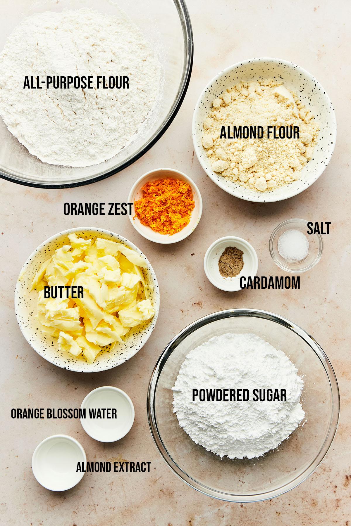 Ingredients to make Mexican wedding cookies.