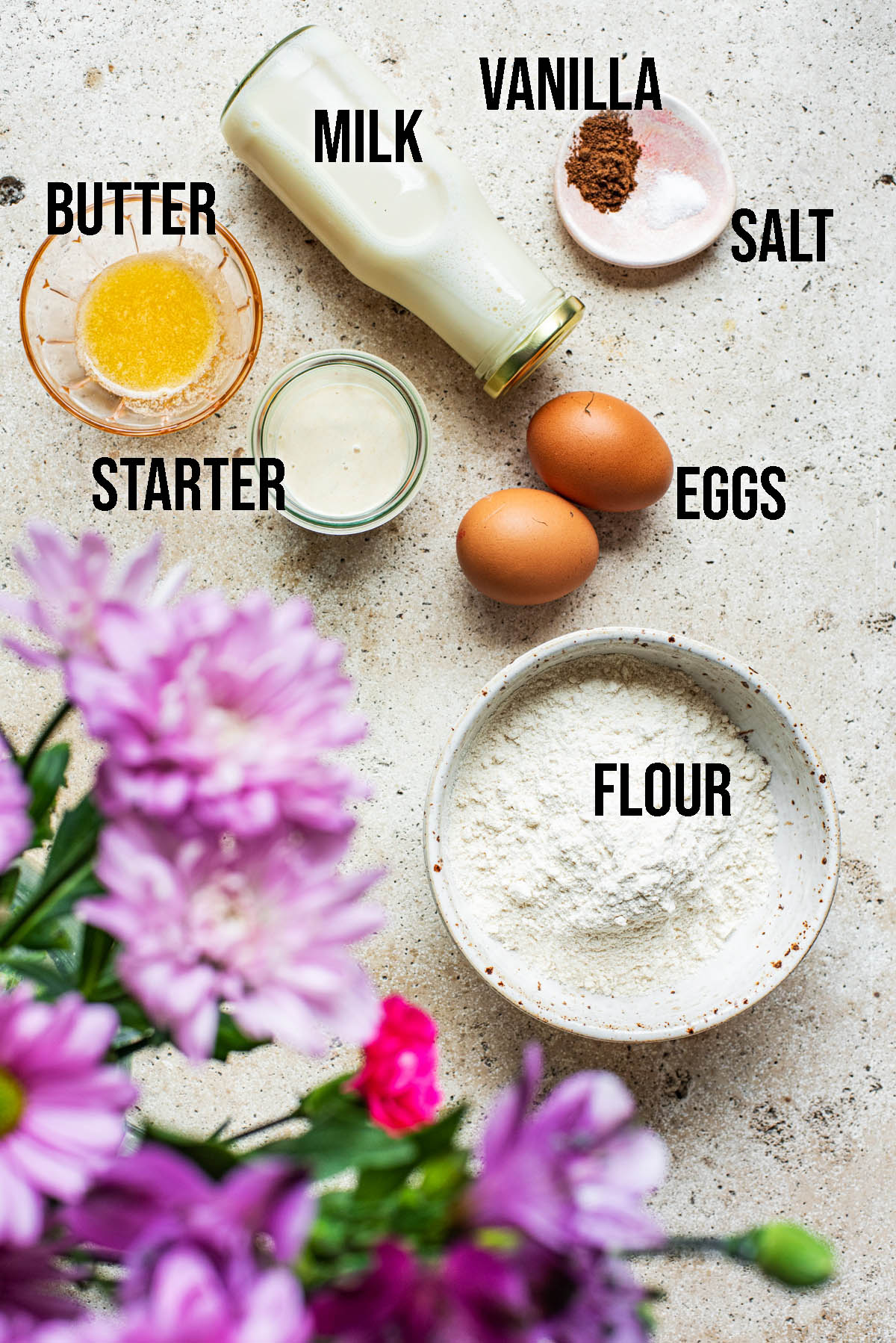 Sourdough crepe ingredients.