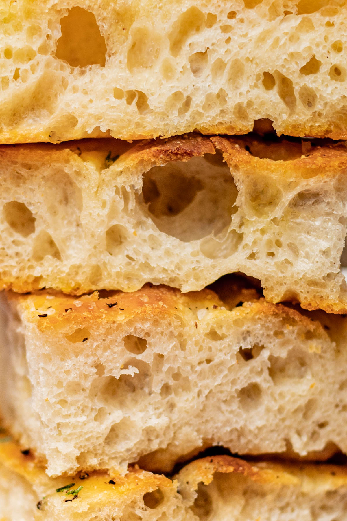 Close up showing interior crumb (large bubbles).