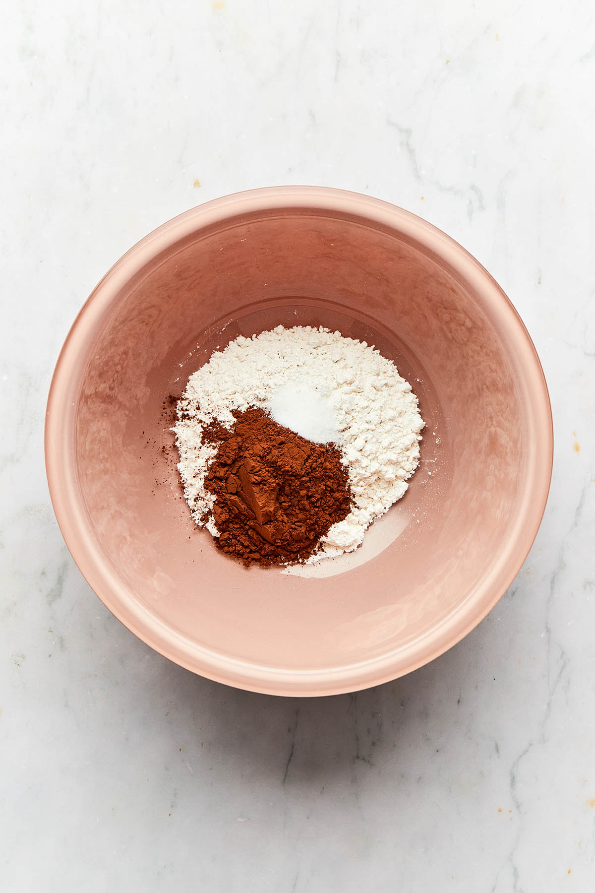 Flour, cocoa powder, and salt unmixed in a pink bowl.