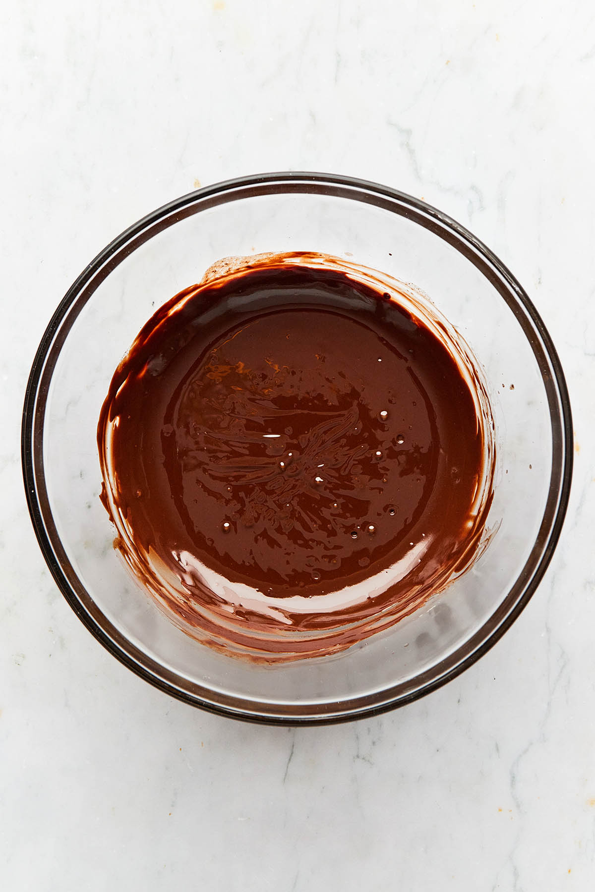 A bowl of melted chocolate.
