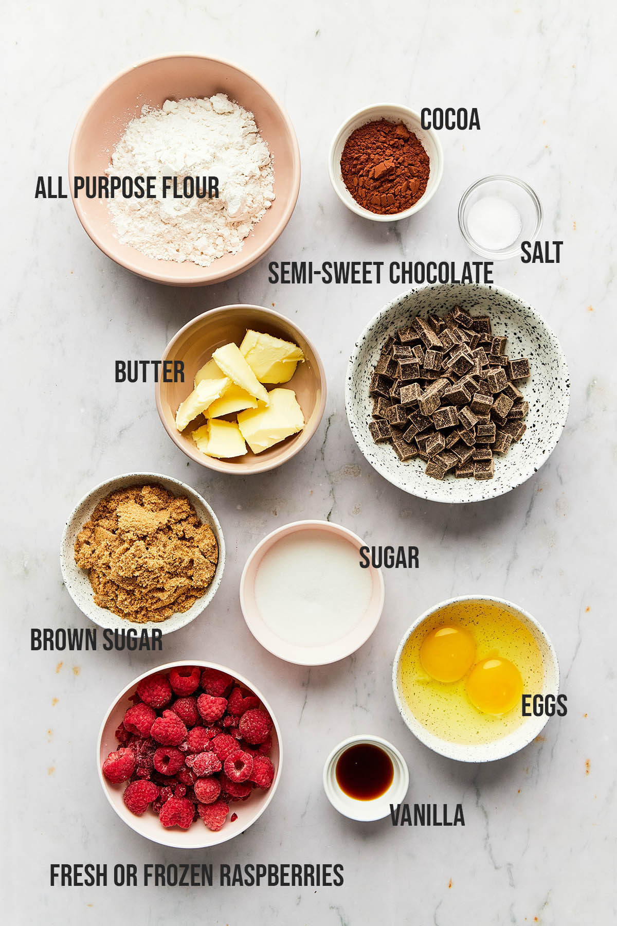 Ingredients to make double chocolate raspberry brownies.