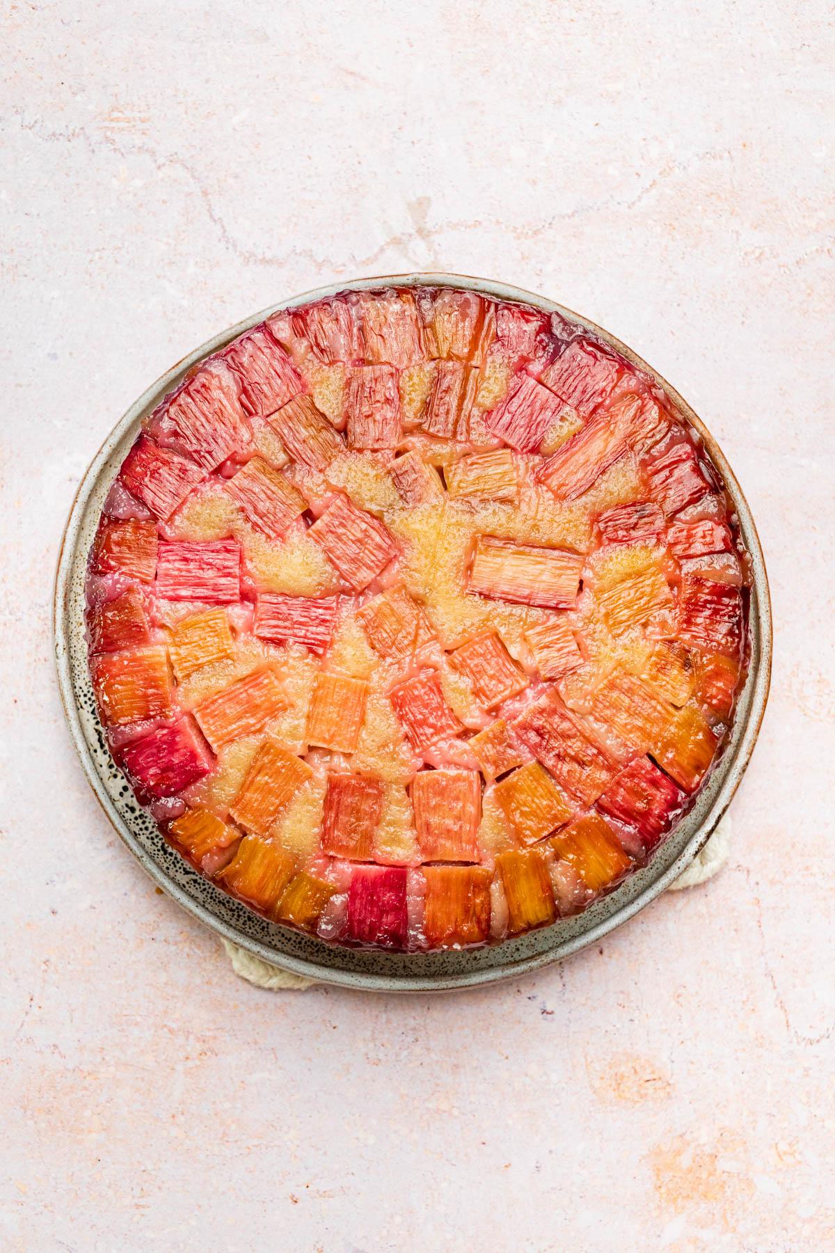 Flipped cake to show the rhubarb base.