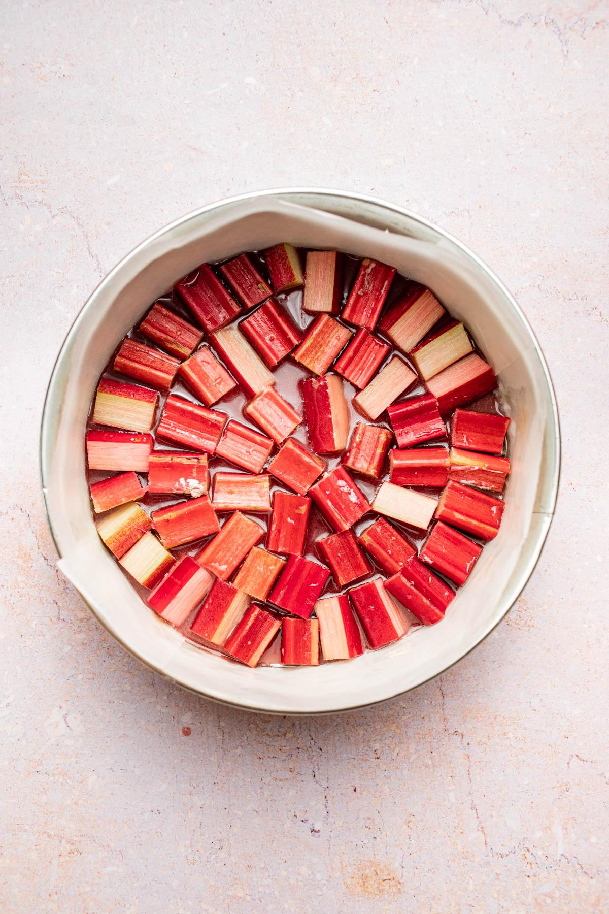 Rhubarb arranged on the base of the cake tin.