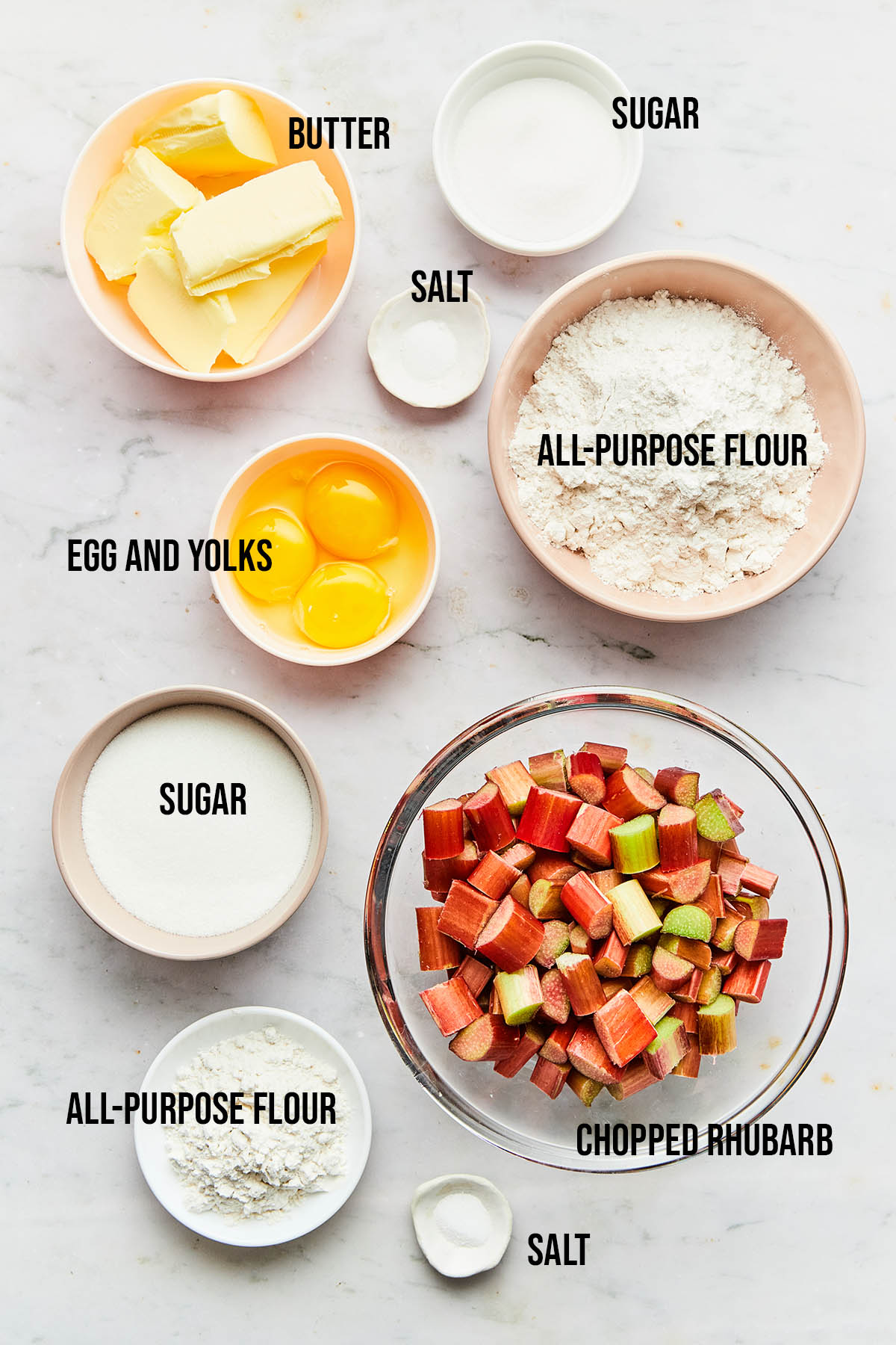 Rhubarb Custard Bars Ingredients.