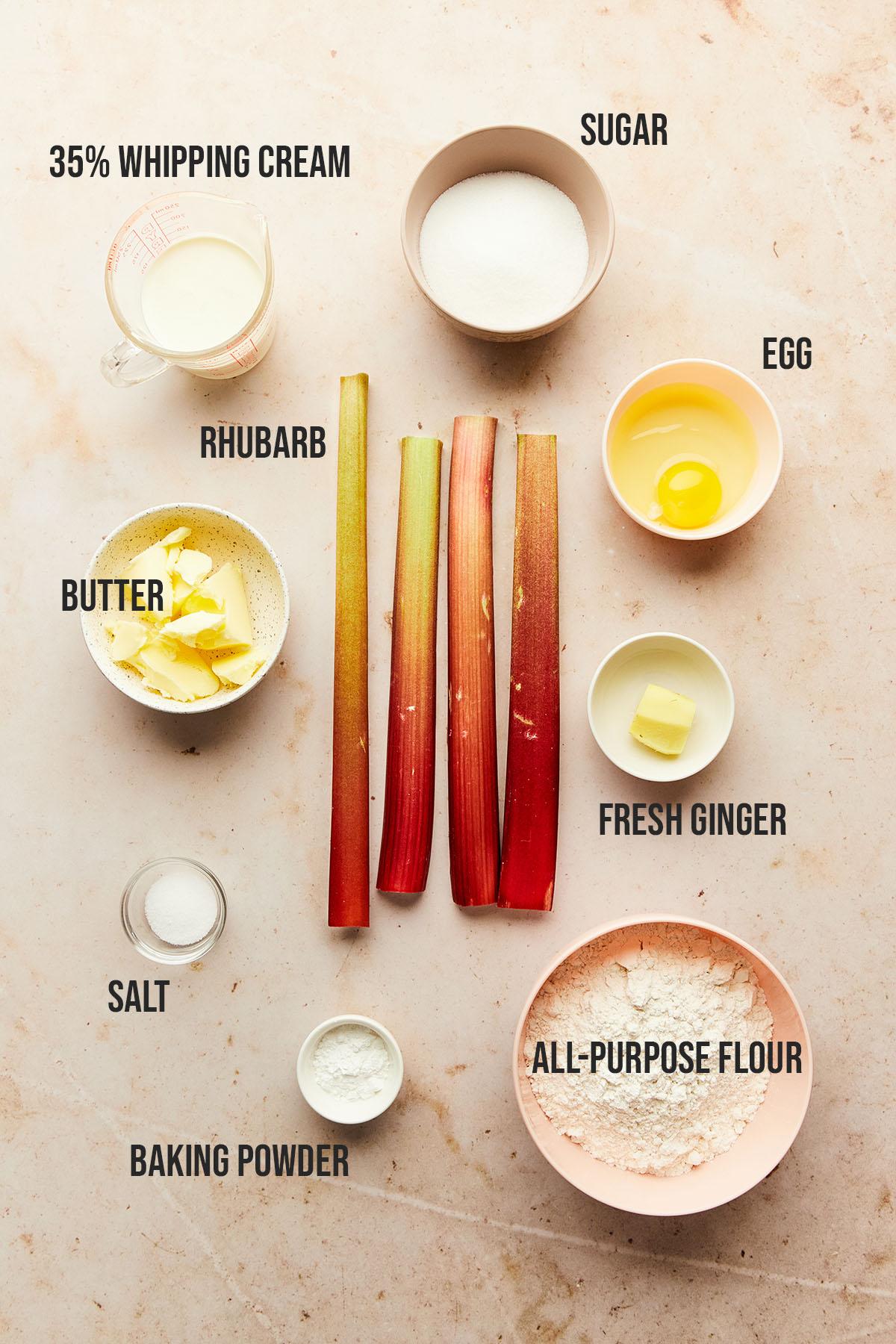 Ingredients to make rhubarb scones.
