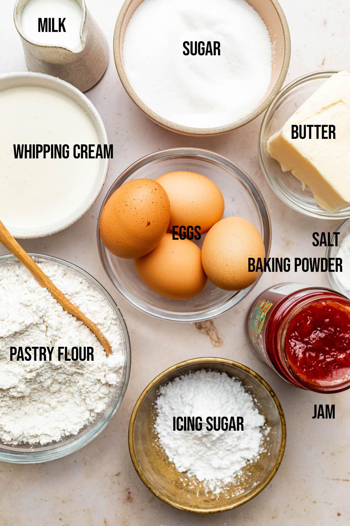Classic Victoria Sponge ingredients.