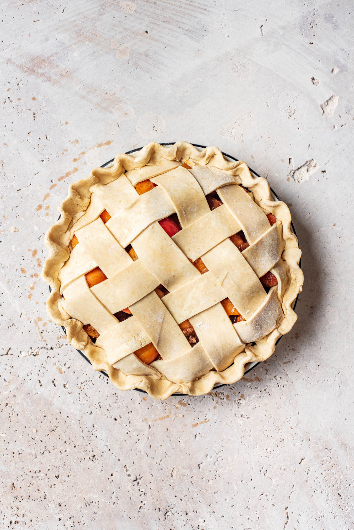 Pie after lattice is added and edges crimped.