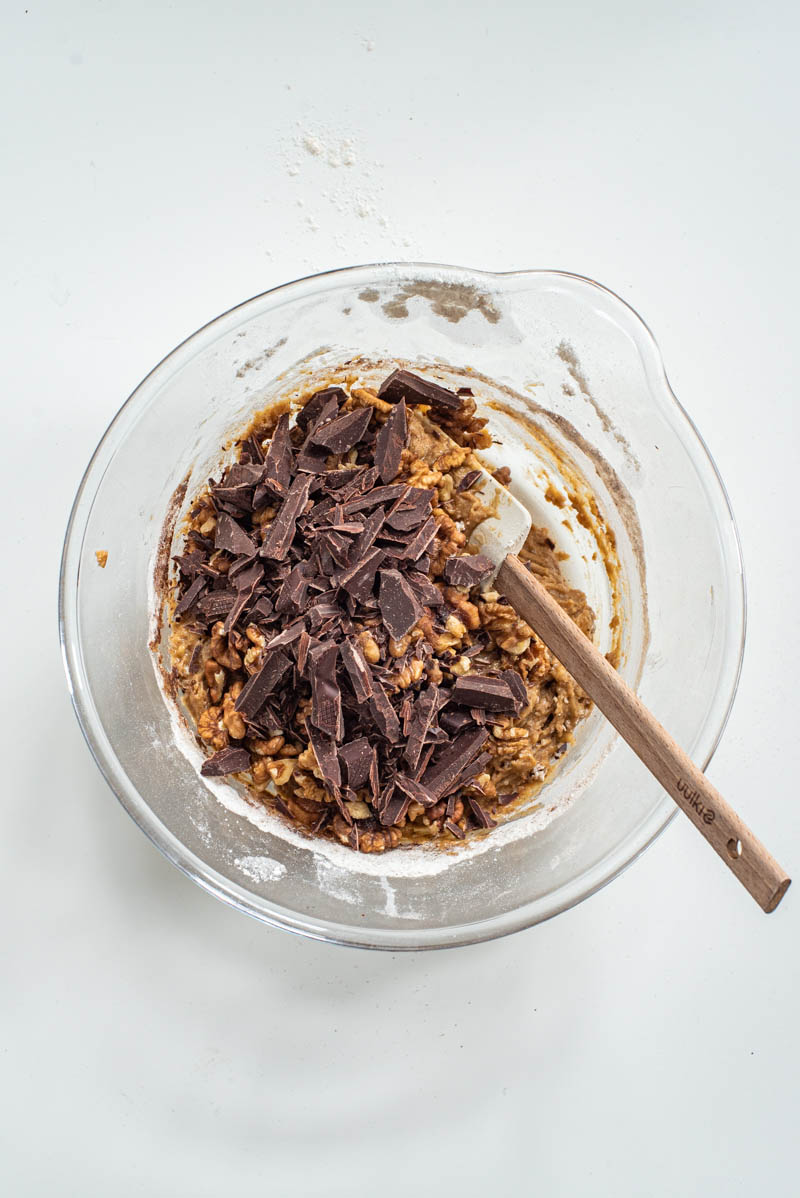 Chocolate added to the batter.