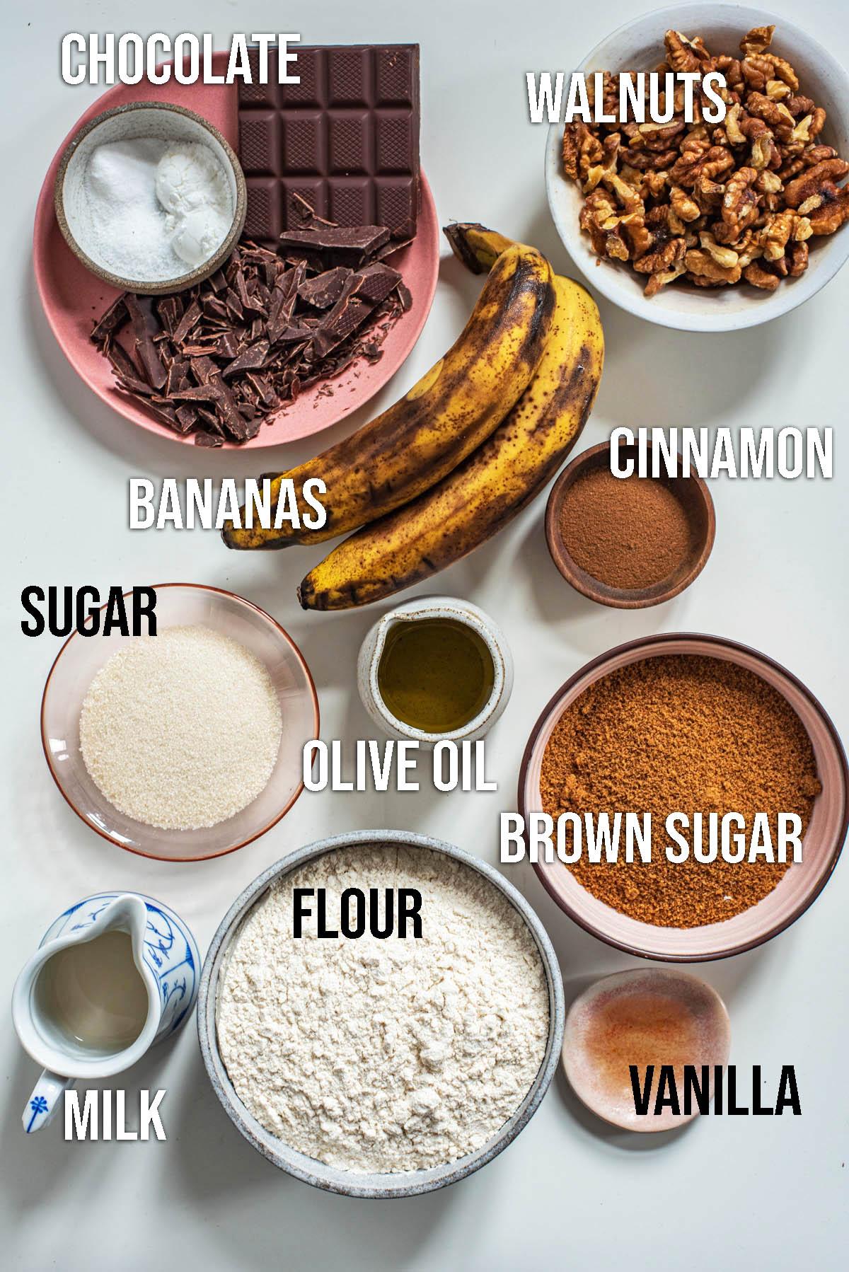 Vegan banana bread ingredients.