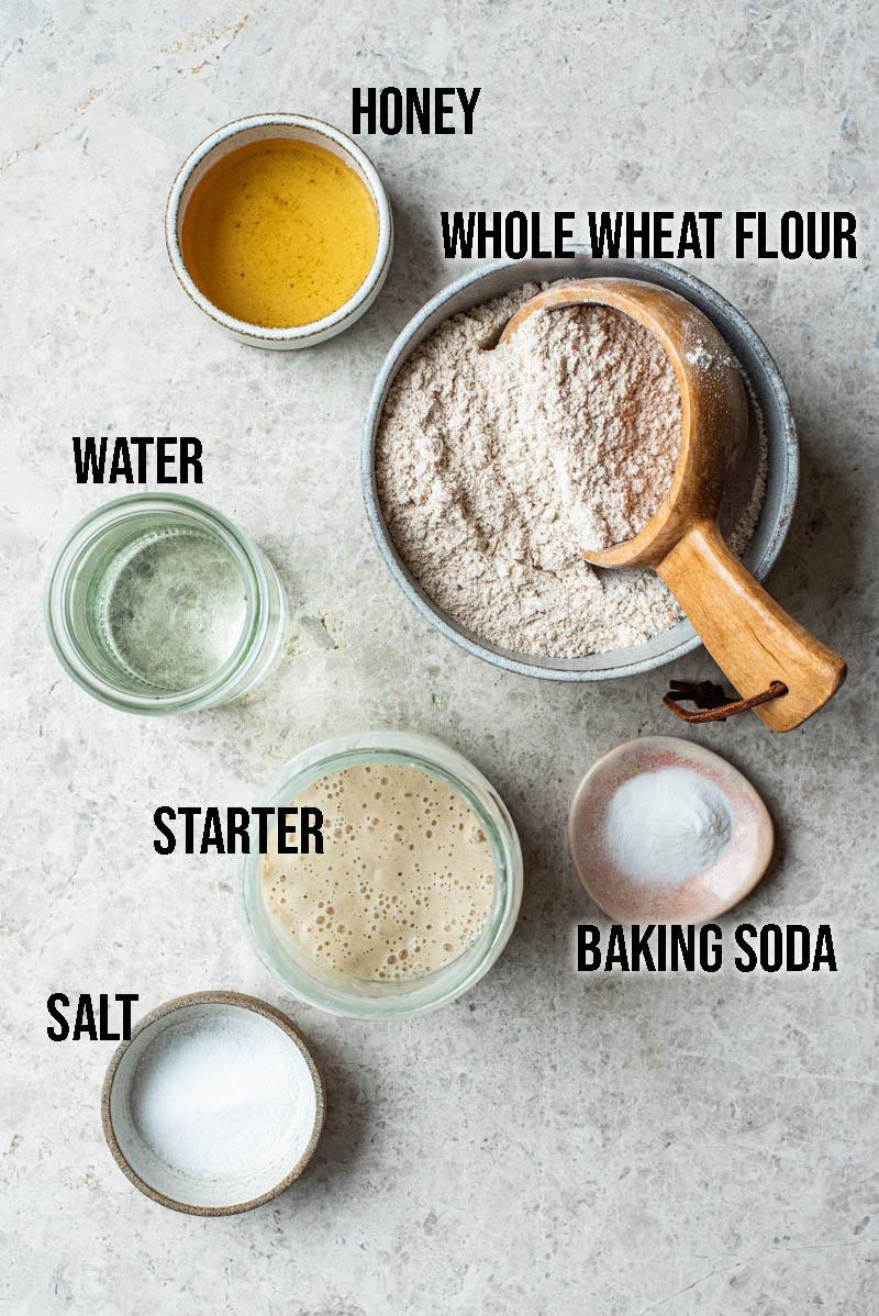 Whole wheat sourdough bagel ingredients.