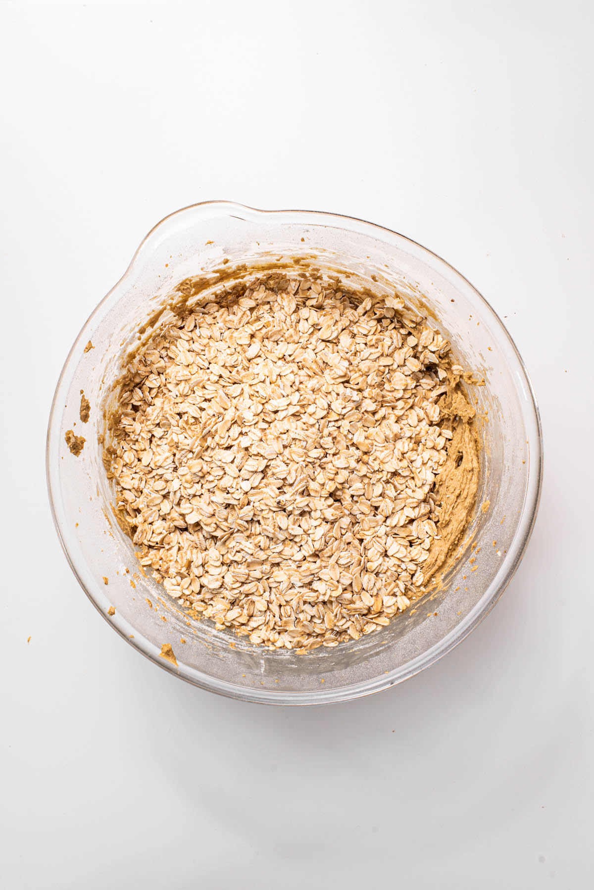 Rolled oats added to the mixing bowl.