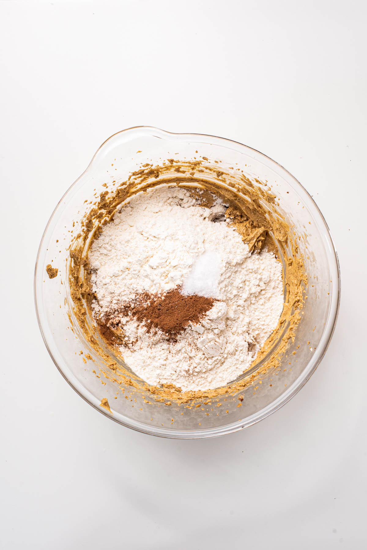 Dry ingredients added to the mixing bowl.