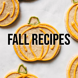 """Pumpkin cookies in background with text that says """"Fall Recipes"""" overlayed."""