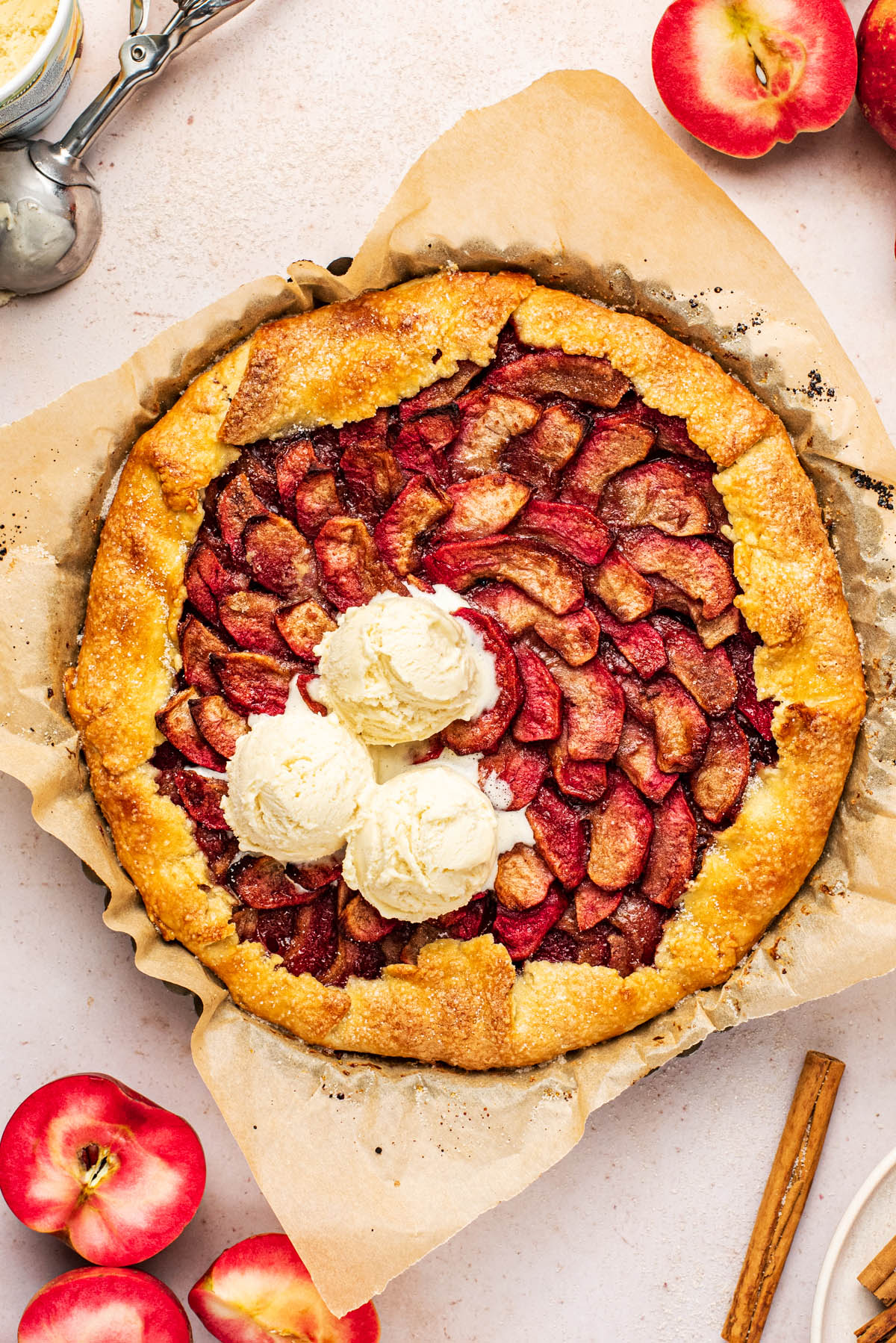 Spiral apple galette with ice cream.